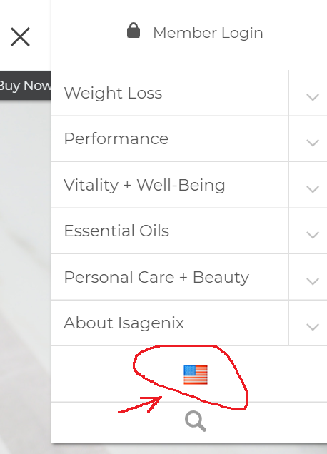 sign up for isagenix - country selection