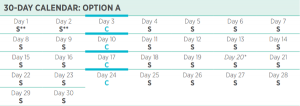 Isagenix 30 day program calendar with 1 day cleanses