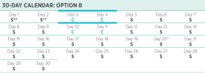Isagenix 30 day program calendar with 2 day cleanses